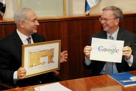 Israeli Prime Minister Benjamin Netanyahu meets with executive chairman of Google, Eric Schmidt, in Jerusalem.