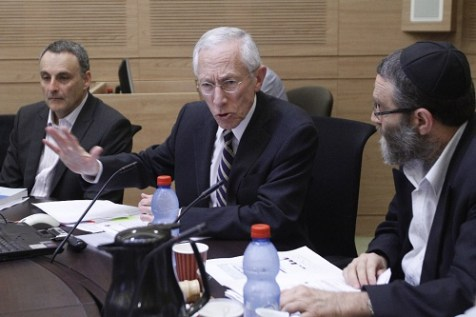 Stanley Fischer, the governor of the Bank of Israel speaks during a session of the Knesset's Finance Committee.