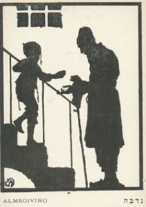 Almsgiving (ca. 1925) lithograph postcard by Meir Gur-Arie Collection of Ira and Brigitte Rezak