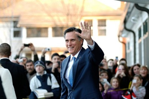 Republican Presidential nominee Mitt Romney leaving a polling station on Super Tuesday