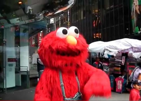 A man wearing an Elmo's suit was caught on video spewing anti-Semitic hatred in New York City.