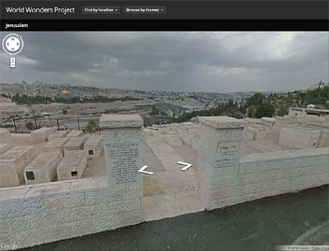 Despite its effort to erase Jewish ownership of the city, the virtual tour of &quot;Jerusalem, Asia&quot; begins with a view of Temple Mount from the Jewish cemetery on Mt. Olives.