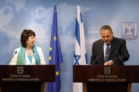 EU Foreign Minister Catherine Ashton holds a press conference together with her Israeli counterpart Avigdor Liberman
