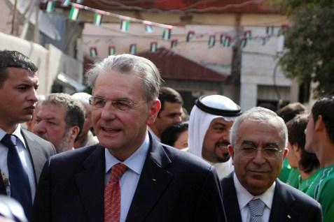 IOC president Jacques Rogge with Palestinian PM Salam Fayyad