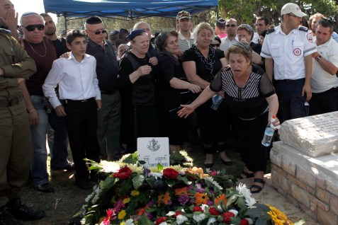 The grieving family of fallen soldier Netanel Moshiashivili