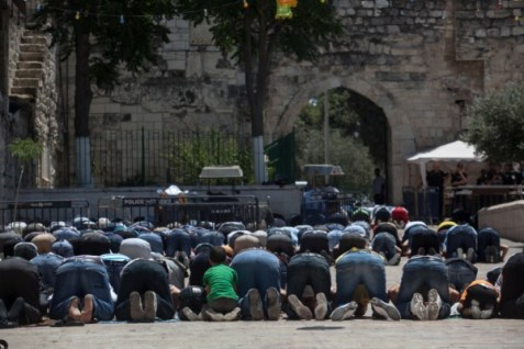 Muslim worshipers outside the Al Aqsa mosque in Jerusalem.