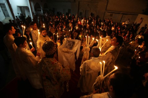 Gazan Christians celebrating Easter Mass