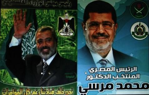 Gaza Prime Minister Ismail Haniyeh and Egyptian President Mohammed Morsi