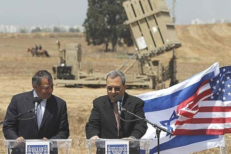 Secretary Panetta (L) and Minister Barak in front of an Iron Dome rocket defense shield battery outside Ashkelon in southern Israel last Wednesday.