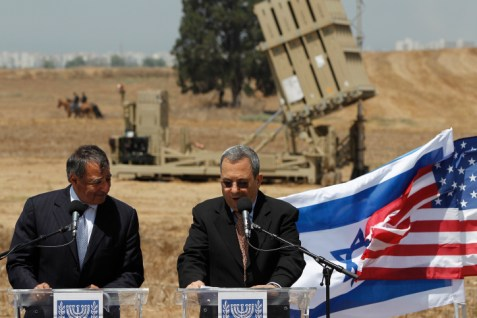 Panetta(l) and Barak(r) deliver statements in Ashkelon. An Iron Dome rocket shield is behind them. Wednesday, Aug. 1, 2012.