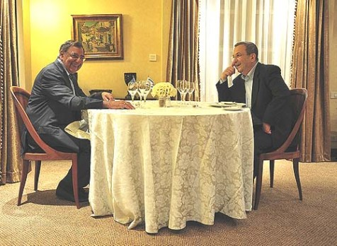 U.S. Secretary of Defense Leon Panetta (L) with Israeli Defense Minister Ehud Barak