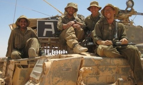 David Abraham (far right), who served in the IDF&#039;s Armored brigade and is slated to attend graduate school at Columbia University.