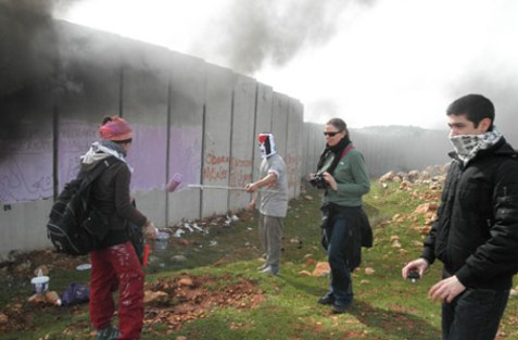 Photo: International Solidarity Movement's activists in Ni'lin, Feb. 5, 2012.