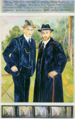 Brothers (1999) 86 x 50, oil on linen and paper by Diana Kurz