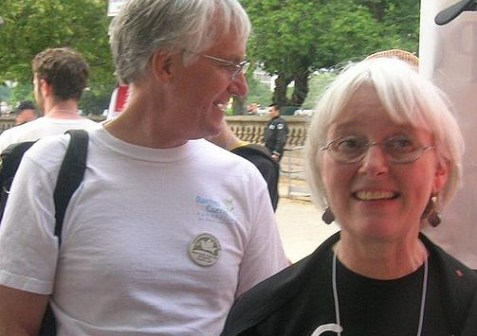 "Cindy and Craig Corrie, parents of Rachel Corrie, at an ""end the occupation"" rally at the U.S. Capitol, June 10, 2007."