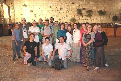 The visiting Polish Jews at the Kotel on Monday.