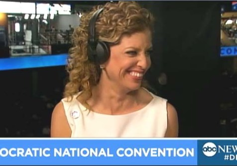 DNC Chair Debbie Wasserman Schultz on the convention floor with ABC News.