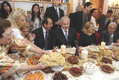 In April, 2009, Prime Minister Netanyahu sampled a traditional, lavish Moroccan meal, in Or Akiva, Israel. While in New York, the PM went gaga over Eastern European Jewish food.