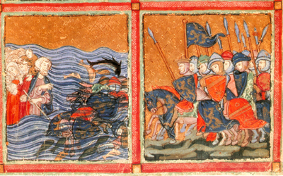 Moses at the Red Sea (1320) illumination from Golden Haggadah