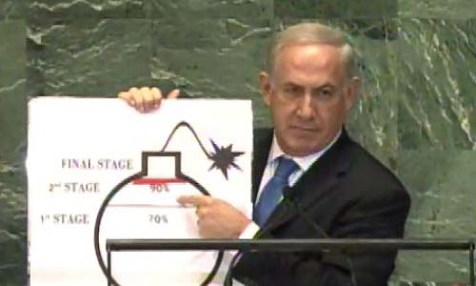 Netanyahu displaying the 3 stages of Iran's nuclear program at the U.N. Thursday.