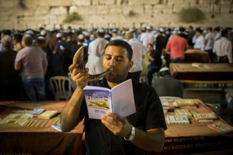 Hundreds of Jews attend Selichot (forgiveness) prayers, at the Kotel, September 14, 2012.