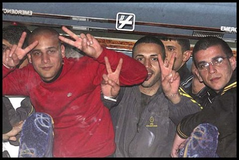 Newly released Palestinian prisoners are welcomed in the town of Ramallah, Dec. 18, 2011.