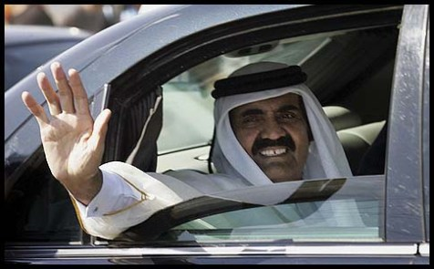 Qatari Emir Sheikh Hamad bin Khalifa al-Thani in Gaza.
