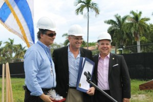 Hebrew Academy board member and gymnasium donor Robert Danial (left) receives proclamation from Miami Beach Commissioners Tobin (center) and Exposito (right) during the school's recent gymnasium groundbreaking ceremony.