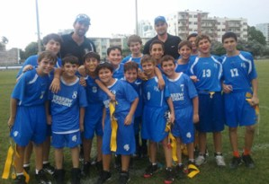 The RASG Hebrew Academy recently defeated the Summit school in another exciting flag-football victory. The boys on the middle-school Warriors team are: Joseph Abrahams, Jack Benveniste-Plitt, Dan Cohen, Gavi Ciment, Noah Dobin, Yosef Frank, Moshe Goldring, Roey Israelov, Sam Klein, David Lurie, Nathan Miller, Yehuda Neuwirth, Jonathan Posner, A.J. Profeta, Reuben Profeta, Salamone Rosenthal, Avi Stein, Daniel Yerushalmi and Aaron Zilberman. The team is coached by Chad Bishop and Craig Mankoff. Go Warriors! (Photo: Adina Ciment)