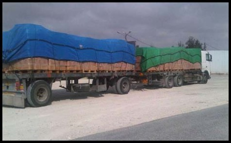Goods and gas entering Gaza