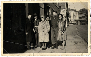 With Miriam's family, Irving and Miriam are on the far right, the woman in the center is Miriam's sister.