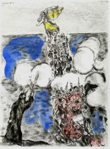 Crossing the Sea (1957) hand-colored etching by Marc Chagall