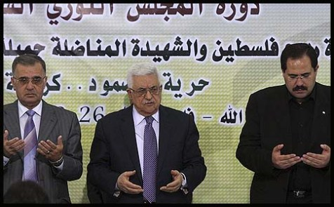 "Palestinian Authority president and head of the Fatah movement Mahmud Abbas attends a ""Revolutionary Council"" meeting in Ramallah along with top Fatah officials."