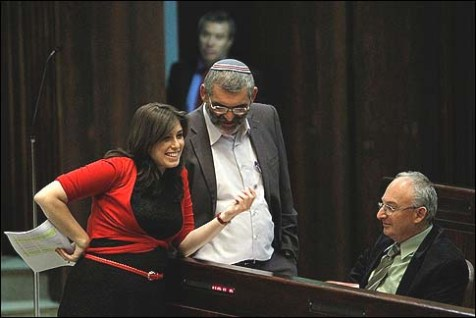 Likud MK Tzipi Hotovelty chatting with right wing MKs Michael Ben Ari and Arie Eldad.