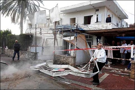 The wreckage caused by a grad missile in Netivot November 12 2012.
