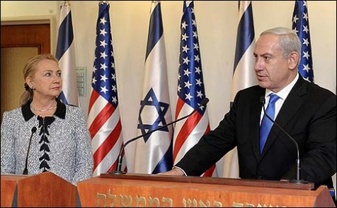 U.S. Secretary of State Hillary Clinton and Israeli Prime Minister Benjamin Netanyahu in Jerusalem on November 20, 2012.