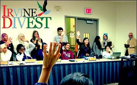 "From the ""Irvine Divest"" Facebook page: ""Historic UC Irvine divestment vote deals stinging defeat to Zionist bullying on campus."""