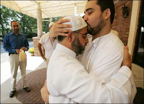 Imam Qatanani arrives to celebration at the Islamic Center of Passaic County, N.J., after winning a deportation hearing, allowing him to stay in the U.S., September 4, 2008.