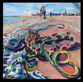 I Saw the Miracle of the Snakes (2012) Acrylic and collage on canvas by Joel Silverstein