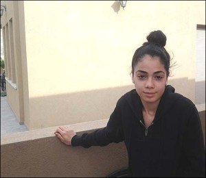 Fifteen-year-old Odaya of Sderot after rocket attack on her neighbor's home, Sunday, November 18.