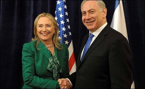 U.S. Secretary of State Hillary Clinton meeting with Israeli Prime Minister Benjamin Netanyahu (R).