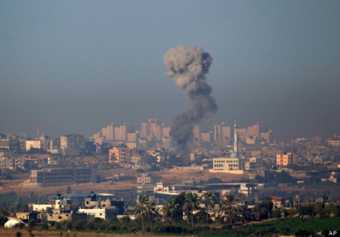 Smoke rises following an Israeli air strike in  northern Gaza.