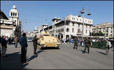 Tanks rolling down a Cairo street today.