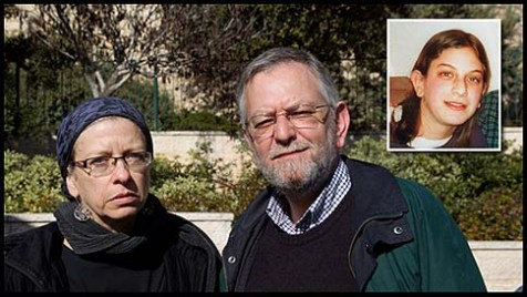 Frimet and Arnold Roth the parents of Melbourne-born Malki Roth (inset) who was just 15 years old when she died in a bomb blast at a Jerusalem pizza restaurant.