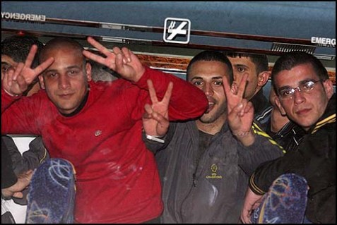 Newly released terrorists are welcomed in Ramallah, Sunday, Dec. 18, 2011, after Israel released them in the swap with Hamas which brought home Israeli soldier Gilad Shalit after being held captive for five years.