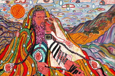"""The Bride of Hoseashtein: Betrothal and Exile (2007) (24"""" x 36""""), oil on canvas by Nahum HaLevi Courtesy the artist"""