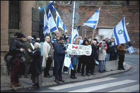 Czechs waving the Israeli flag at a rally welcoming Prime Minister Netanyahu in Prague, the Czech Republic, December 05, 2012.