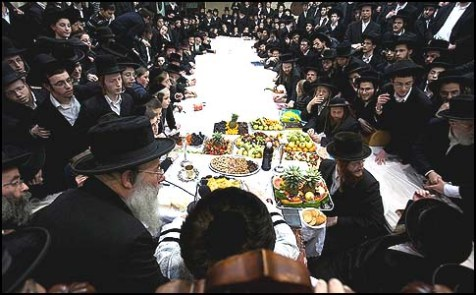 Kaliv Hasidim celebrating Tu B'Shvat in Jerusalem.
