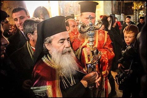 Theophilos III, the Greek Orthodox Patriarch of the Holy Land, in Bethlehem,