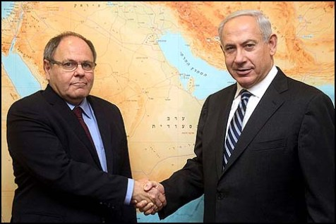 Israel's Prime Minister Benjamin Netanyahu (R) meets with Chairman of the Yesha Council Danny Dayan on January 09, 2013.